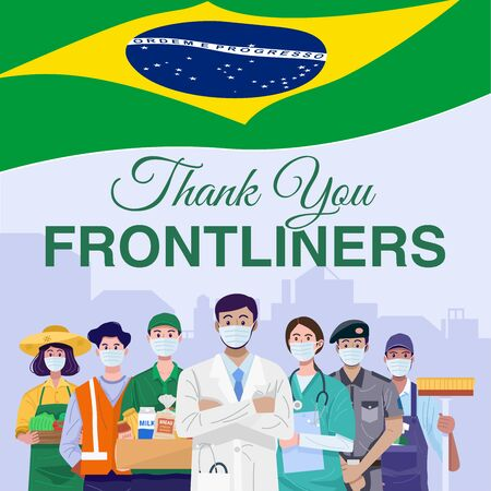 Thank You Frontline Workers Concept. Various occupations people wearing face masks with flag of Brazil