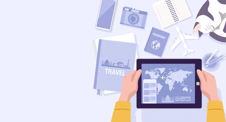 Flat design, Illustration of a man using travel apps on tablet at home.
