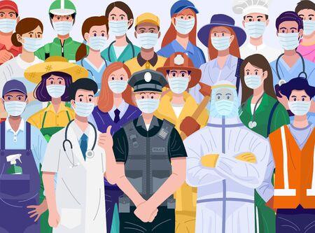 Vielen Dank für das Konzept der wesentlichen Arbeiter. Verschiedene Berufe, die Gesichtsmasken tragen.