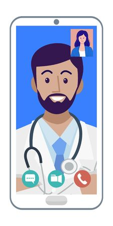 Digital health concept, Illustration of doctor video calling on a smartphone.