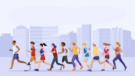 Flat design style. Group of healthy young people and disabled people jogging together. Vector