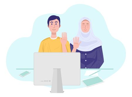 Illustration of a young muslim couple having video chat with friends.