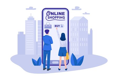 A couple shopping online using smartphone. Vector 向量圖像