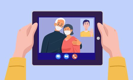 Top view of a man having video conference on tablet with his parent at home. 向量圖像