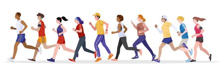Group of healthy young men and women jogging together.