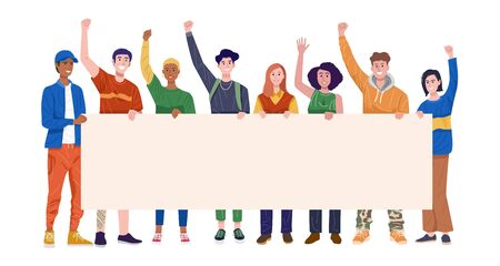 Group of happy young men and women holding banner. Vector