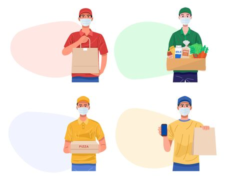 Home delivery banners. Online delivery service during virus outbreak. Vector