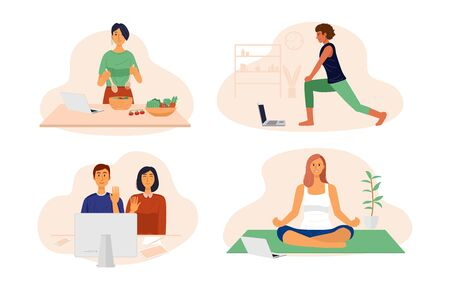 Video conference illustration, people cooking, doing exercise, yoga and chatting with friends at home.