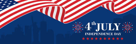 Happy 4th of July Independence Day Banner with flag of America 向量圖像
