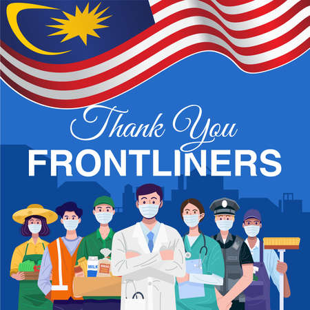 Thank you frontliners. Various occupations people standing with flag of Malaysia. Vector