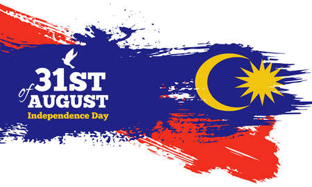 Happy Malaysia Independence Day Banner in Grunge Style. Vector