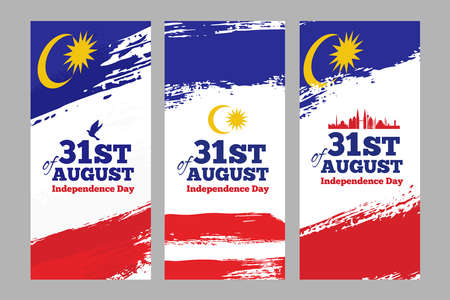 Happy Malaysia Independence Day Banners in Grunge Style. Vector