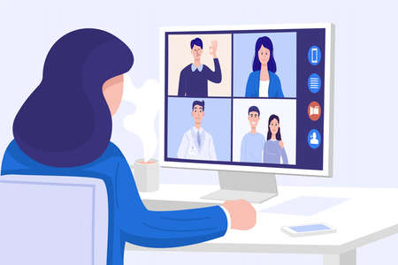 Video conferencing at home, Close-up woman having video call meeting with friends at home. Vector