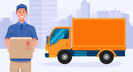Delivery service. Delivery man holding a parcel with his truck. Vector