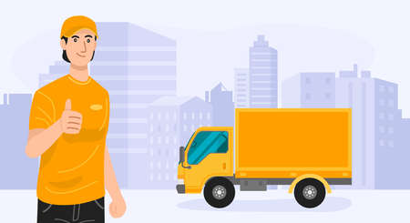 Delivery service. Delivery man standing with his truck. Vector