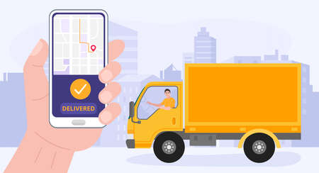 Hand holding smartphone with delivery app. A man driving a delivery truck. Vector 向量圖像