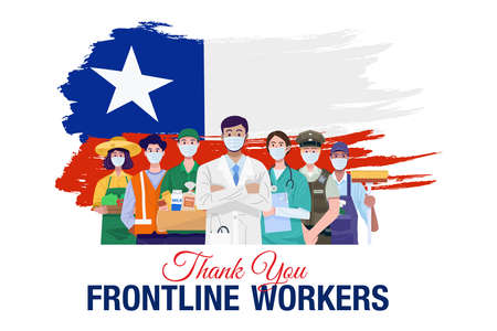 Thank you frontline workers. Various occupations people standing with Chile flag. Vector 向量圖像