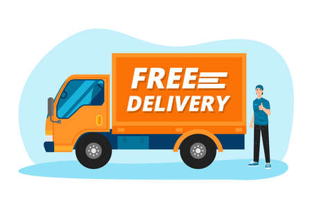Free delivery service. Delivery man standing with his truck. Vector 向量圖像