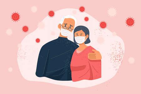 Stressed old couple wearing face masks amid coronavirus. Vector Illustration