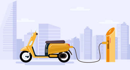 Electric scooter charging battery. Vector