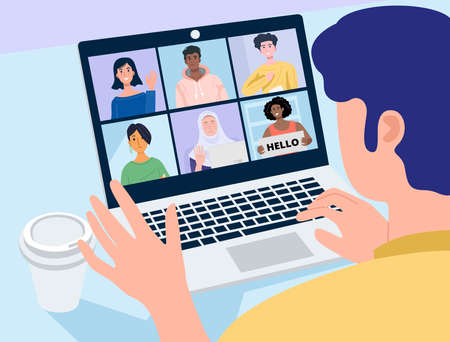 Video conferencing at home, Close-up man having video call meeting with fhis colleagues at home. Vector 向量圖像