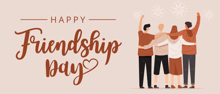 Happy friendship day, Back view of people hugging together, Vector