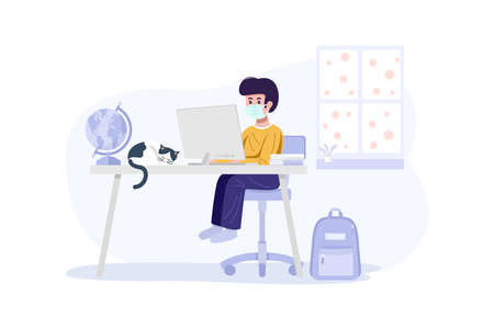 Online Education Concept. A boy wearing face maskand learning with computer at home. Vector 向量圖像