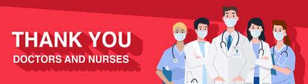 Frontline heroes, Illustration of doctors and nurses characters wearing masks. Vector 向量圖像