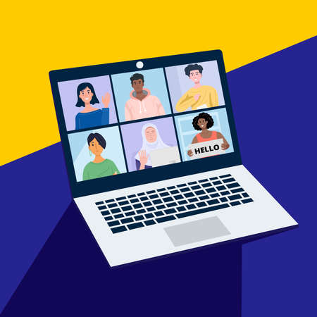 Online conference with friends through a laptop. Vector Illustration