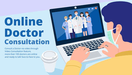 Online doctor consultant, Close-up man having video call meeting with doctors at home. Vector 向量圖像