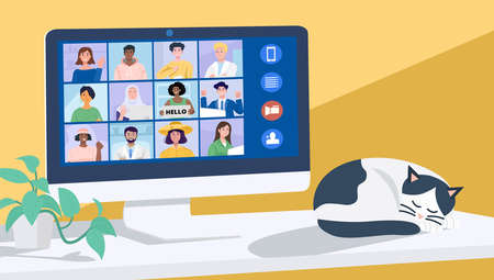 Video conferencing at home, Online conference with coworkers through a computer. Vector Illustration