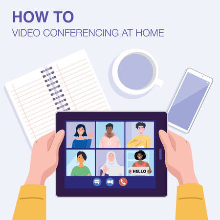 Top view of a man having video conference on tablet with his friends at home. Vector