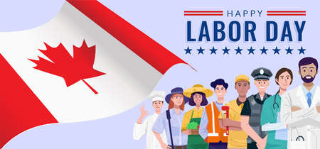 Happy Labor Day. Various occupations people standing with flag of Canada. Vector 向量圖像