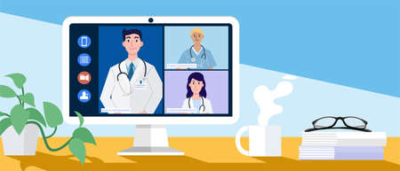 Video conferencing at home, Online conference with doctors through a computer. Vector Illustration