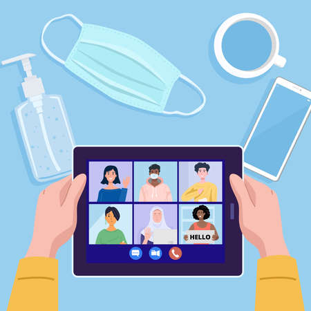 Top view of a man having video conference on tablet with his friends amid COVID-19 pandemic. Vector 向量圖像