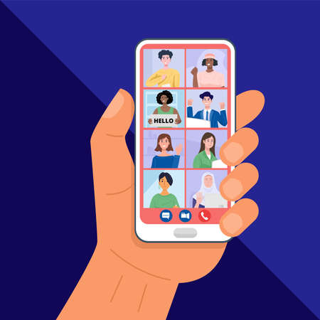 Hand holding smartphone having video conferencing with friends. Vector 向量圖像