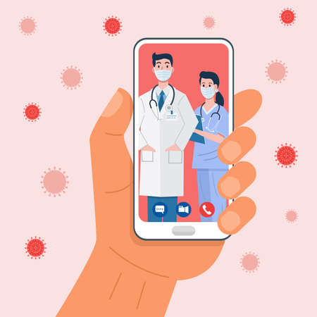 Hand holding smartphone having video conferencing with doctor. Vector