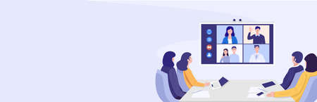 Illustration of businesspeople having video conference. Vector 向量圖像