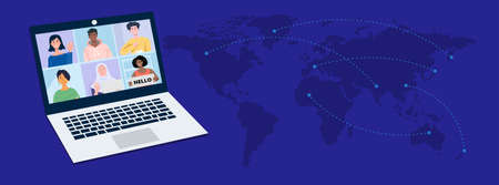 Online virtual meetings with world map. Vector