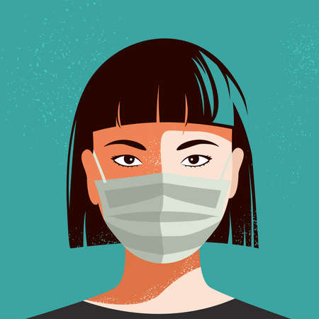 Illustration of Asian woman wearing face mask. Vector