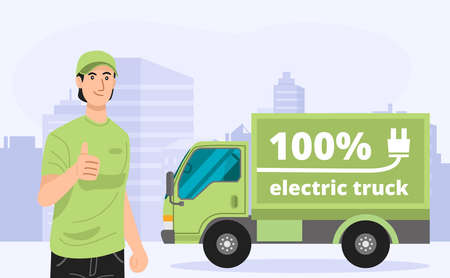 Illustration of green electric truck with a delivery man. Vector 向量圖像