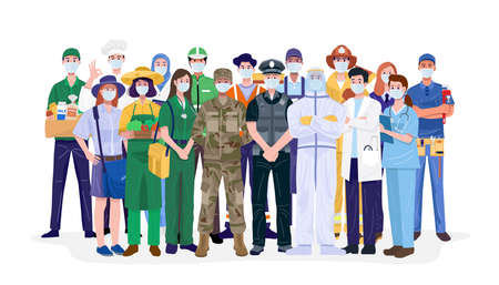 Essential workers, Various occupations people wearing face masks. Vector Vector Illustration