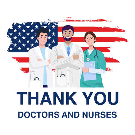 Frontline heroes, Illustration of doctors and nurses characters with flag of the United States of America. Vector