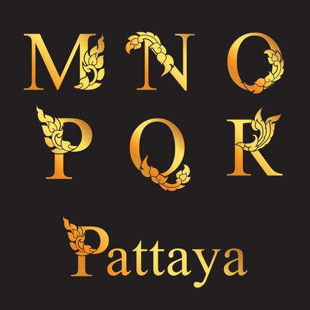 Golden elegant letter M, N, O, P, Q, R with Thai art elements. Vector 向量圖像