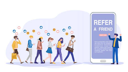 Refer a friend concept, Influencer promotes products for his followers online. Vector 向量圖像