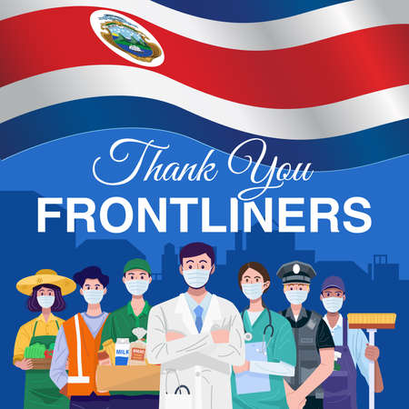 Thank you frontliners. Various occupations people standing with flag of Costa Rica. Vector
