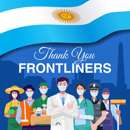 Thank you frontliners. Various occupations people standing with flag of Argentina. Vector