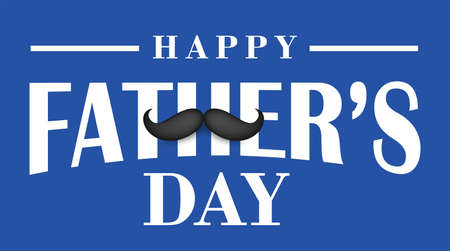 Moustache icon with text happy father's day on blue background, Vector 向量圖像