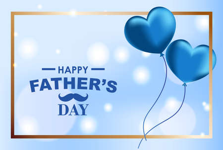Father's Day background, flying heart shaped balloons on blue bokeh lights, Vector Illustration 向量圖像