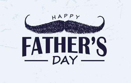 Hand drawn moustache with text happy father's day , Vector